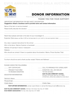 EVCS-Gala_DONOR-FORM_2013-231x300 Charity Care Application Form Car on spend letter, requirements for hospitals, financial statement, that cover home nursing, financial statement notes, vs bad debt hospital, chart south florida, policy template example, income chart, programs for hospitals,